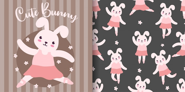 Cute bunny ballet animal seamless pattern with baby card
