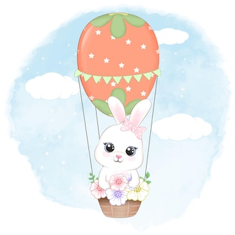 Cute bunny and balloon from easter egg