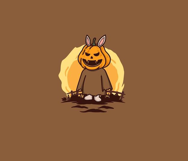 Cute bunny becomes pumpkin in farm