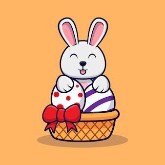 イースターの日の装飾的な卵の後ろにかわいいウサギ
