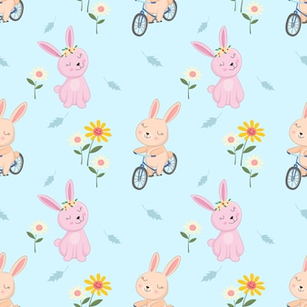 Cute bunny on bicycle in garden seamless patteen.