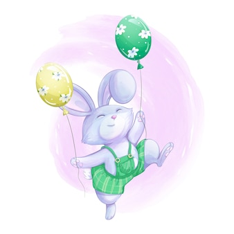 Cute bunny boy in green striped pants holds two balloons in his paws and jumps merrily