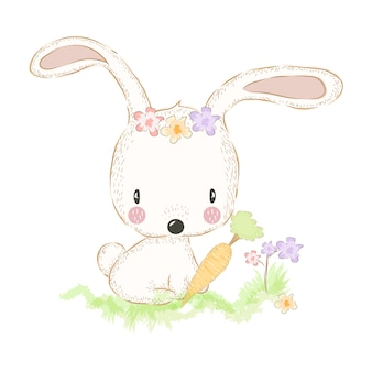Cute bunny and carrot