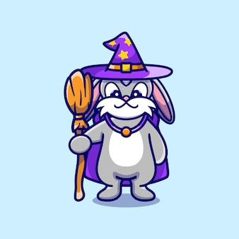 Cute bunny carrying flying broom