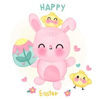 幸せなイースターの日のためのイースターエッグとひよこを持つかわいいウサギの漫画かわいい水彩画
