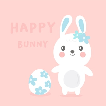 Cute bunny cartoon with flower egg for easter day