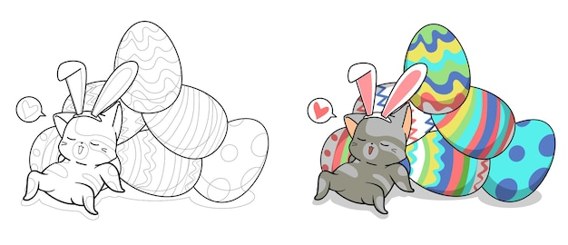 Cute bunny cat and eggs for easter day cartoon coloring page for kids