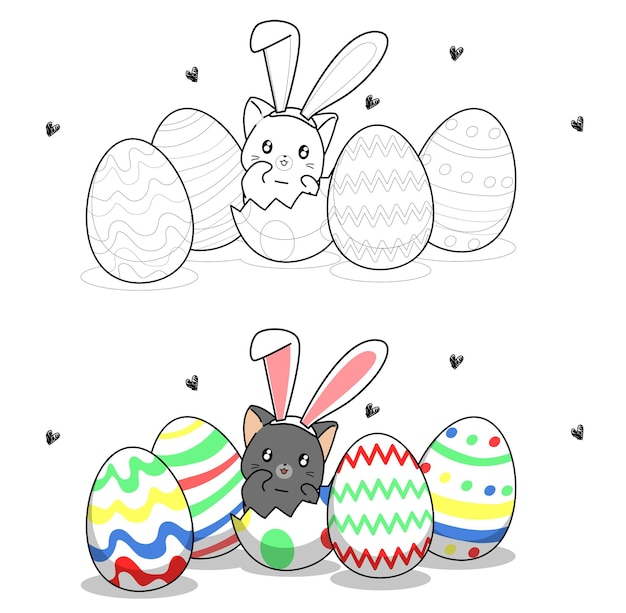 Cute bunny cat insidde a egg for easter day cartoon coloring page for kids