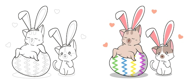 Cute bunny cats in easter day cartoon coloring page for kids