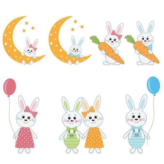 Симпатичные персонажи кролика, векторные иллюстрации.