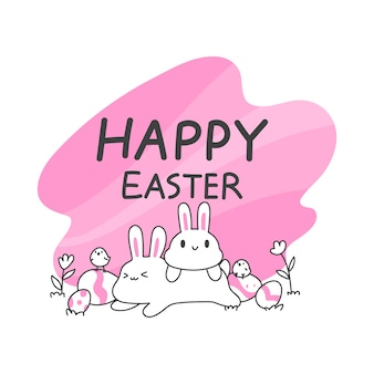 Cute bunny and chicks and easter eggs, simple and clean line vector illustration