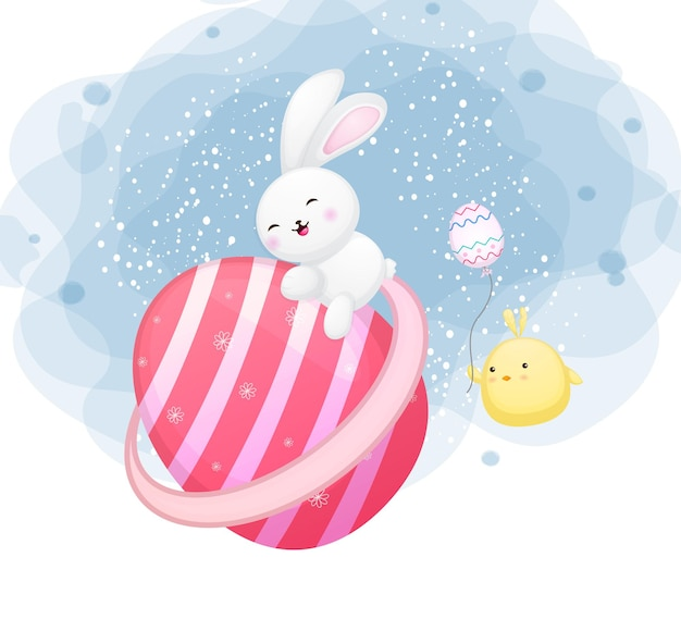 Cute bunny and chicks floating in the sky premium vector