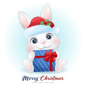 Cute  bunny for christmas day with watercolor illustration
