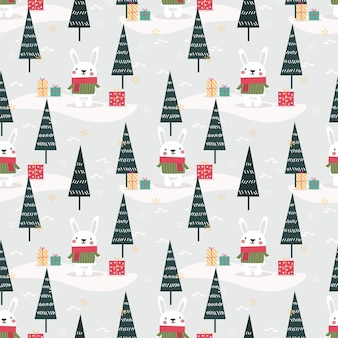 Cute bunny in christmas theme seamless pattern