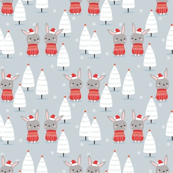 Cute bunny  in christmas winter theme seamless pattern