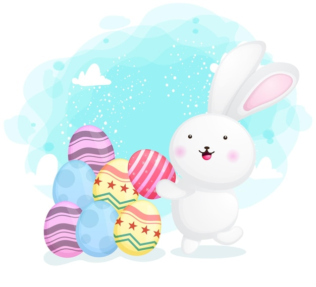Cute bunny collect decorative easter egg