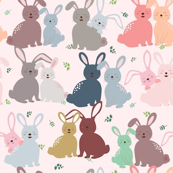 Cute bunny in colorful tone seamless pattern for kid product