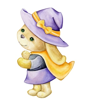 Cute bunny, in costume, witches, isolated background. watercolor drawing, cartoon style, for celebration, halloween.