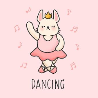 Cute bunny dancing cartoon hand drawn style