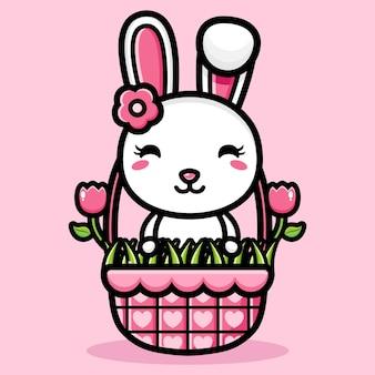 바구니에 귀여운 토끼 디자인