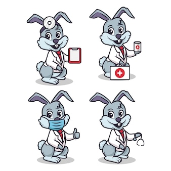 Cute bunny doctor and health mascot set with white isolated background