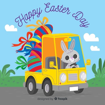 Cute bunny driving truck full of eggs easter day background