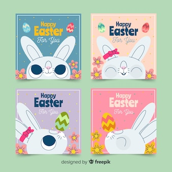 Cute bunny easter card collection
