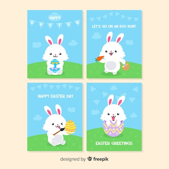 Cute bunny easter card set