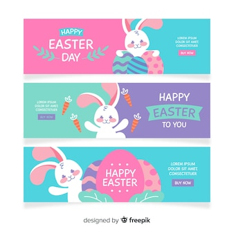 Cute bunny easter day banner