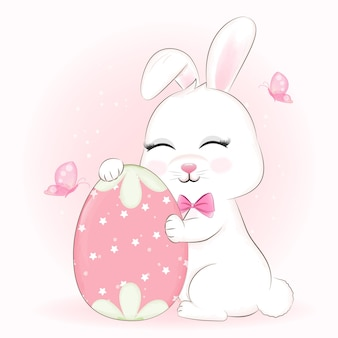 Cute bunny and easter egg cartoon animal illustration