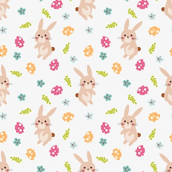 Cute bunny and easter egg seamless pattern.