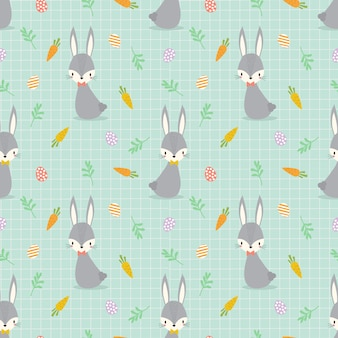 Cute bunny and easter eggs seamless pattern.