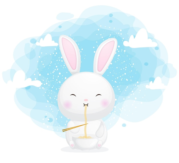 Cute bunny eat noodle cartoon