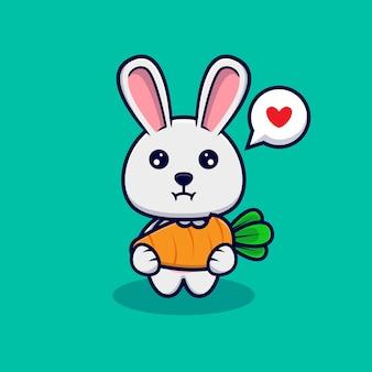 ニンジンを食べるかわいいウサギ