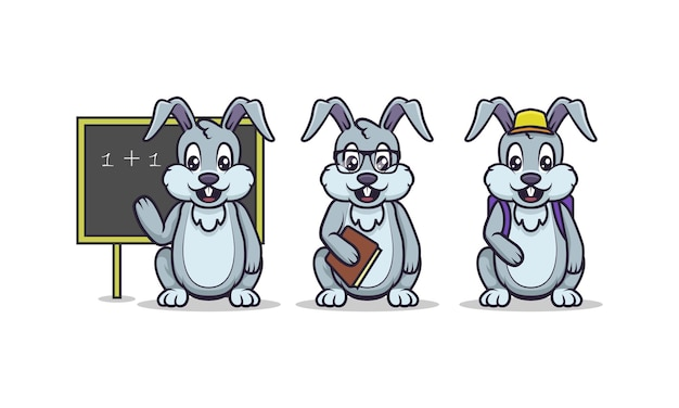 Cute bunny education mascot set with white isolated background
