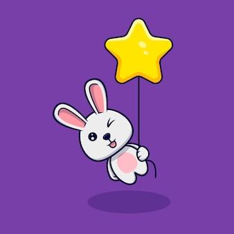 星の風船で浮かぶかわいいウサギ