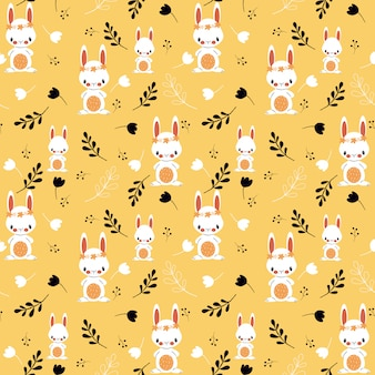 Cute bunny and floral seamless pattern