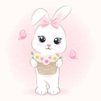 Cute bunny and flowers in basket with butterfly cartoon hand drawn illustration