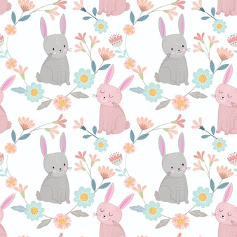 Cute bunny in flowers garden seamless pattern fabric textile wallpaper.