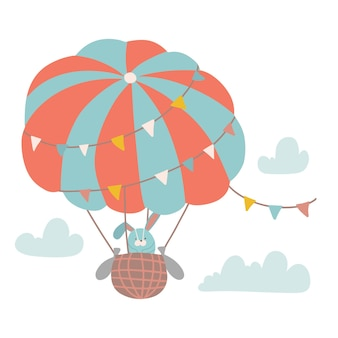 Cute bunny flying with air balloon in the cloudy sky isolated vector flat illustration in hand drawn...