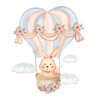 Cute bunny flying with balloon
