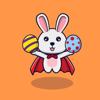 イースターの日に装飾的な卵と一緒に飛んでいるかわいいウサギ