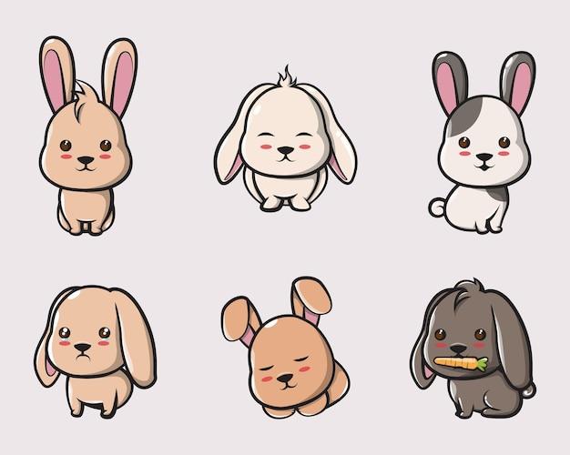 포스터, 로고, 마스코트 및 아이콘을 위한 귀여운 토끼