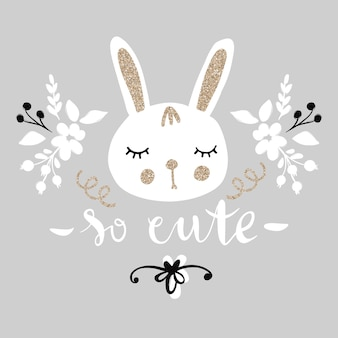Cute bunny. funny illustration. lovely rabbit with golden glitter.