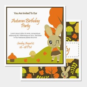 Cute bunny girl on autumn season for birthday card