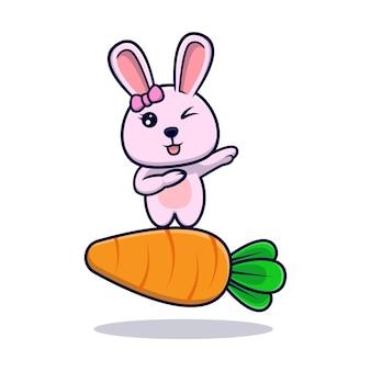 にんじんのデザインアイコンイラストの上に軽くたたくかわいいウサギの女の子
