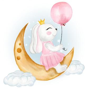 풍선 수채화 그림을 들고 귀여운 토끼 소녀