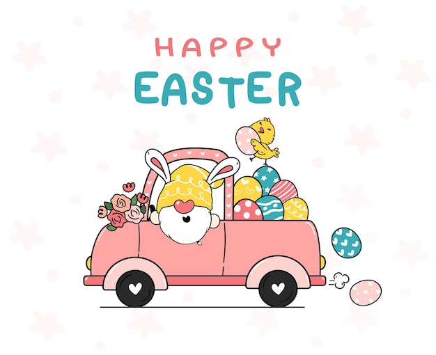 Cute bunny gnome cartoon and yellow chick baby illustration