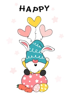 Cute bunny gnome sit on easter egg with carrot and heart balloon, happy easter, cute doodle cartoon