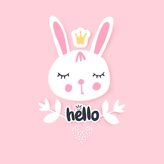 Cute bunny greeting card. funny illustration. lovely rabbit.